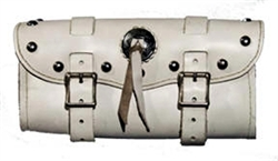Large White Studded Concho Leather Tool bag