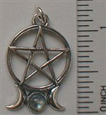 PENTACLE WITH TRIPLE MOON & LABORDORITE PENDANT