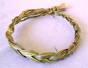 SWEETGRASS BRAIDS, 18 INCHES LONG.