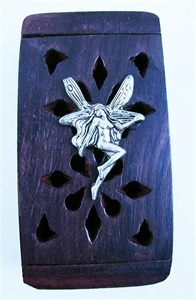 Wood Tooth Fairy Box with Pewter Fairy
