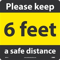 National Marker WFS73A Keep A Safe Distance Walk On Floor Sign
