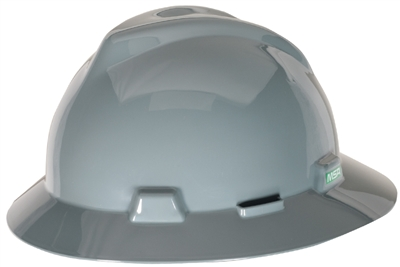 MSA 475367 Gray V-Gard Slotted Hard Hat With Fas-Trac III Suspension
