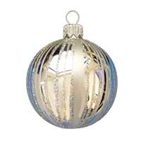 Inge Glas Ball Fancy Stripes Silver 2.2""