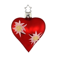 Inge Glas Red Heart with Edelweiss  3""