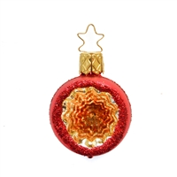 Inge Glas Reflector Ball Red With Gold/Orange 2""