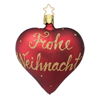 Inge Glas Red Frohe Weihnacht Heart  3.5""