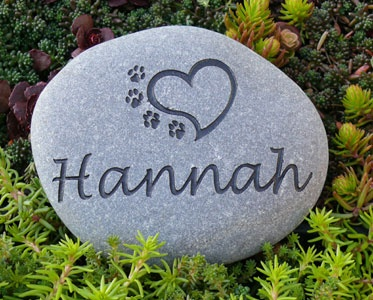 small personalized pet memorial river stone