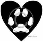 Cat paw in heart pet memorial