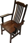 Walnut Mission Dining Room Chair, With Arms