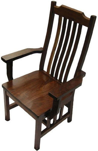 Walnut Mission Dining Room Chair With Arms