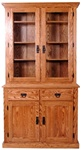 "74"" x 84"" x 20"" Walnut Mission Hutch (Four Doors)"