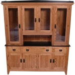 "86"" x 84"" x 20"" Quarter Sawn Oak Shaker Hutch (Four Doors)"
