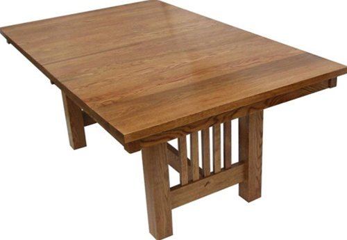 120 x 46 oak mission dining room table for Dining room table 40 x 120