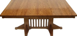 "100"" x 42"" Quarter Sawn Oak Pedestal Dining Room Table"