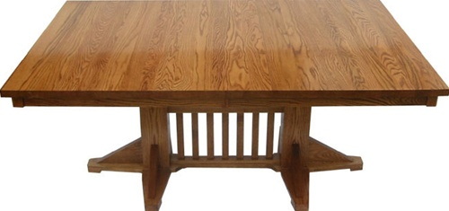 50 X 36 Quarter Sawn Oak Pedestal Dining Room Table
