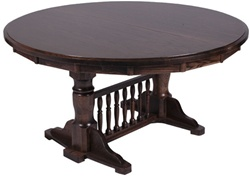"84"" Mixed Wood Round Dining Room Table"
