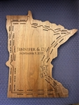 Minnesota State Walnut Wood Cribbage Board