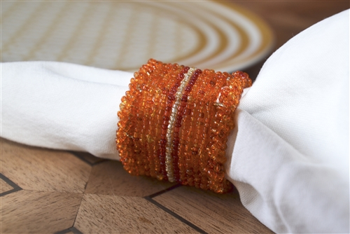 Orange Beaded Napkin Ring Set