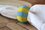 Blue and Yellow Striped Beaded Napkin Ring Set