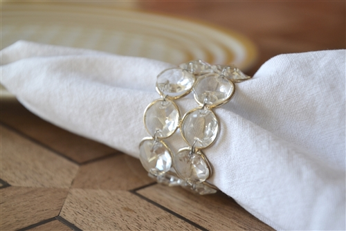 Crystal and Silver Napkin Ring Set