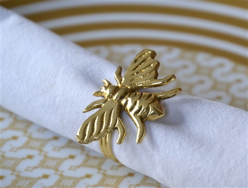 Golden Honey Bee Napkin Ring Set