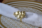 Golden Oak Leaf Napkin Ring Set