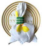 Green and White Beaded Napkin Ring Set