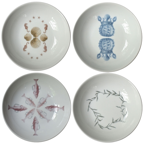 Sealife Small Porcelain Coupe Bowls