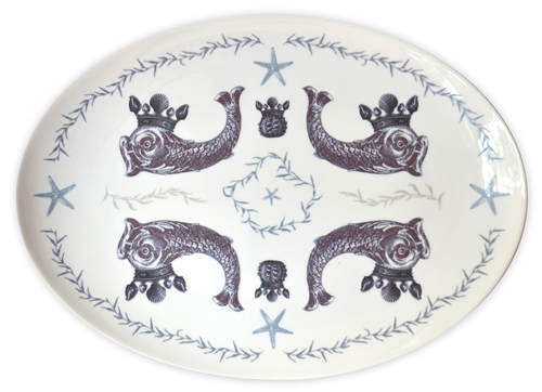 Duet Large Porcelain Coupe Serving Platter, Indigo