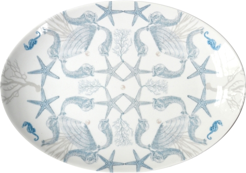 Medium Porcelain Coupe Serving Platter, La Mer