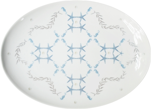 Large Porcelain Coupe Serving Platter, Starlight