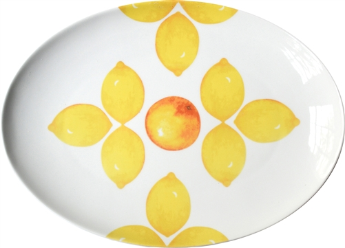 Large Porcelain Coupe Serving platter, Citrus