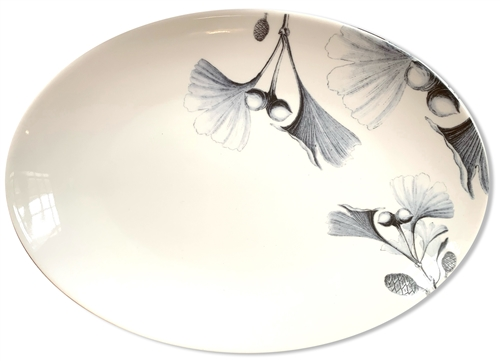 Ginkgo Leaves Medium Porcelain Coupe Serving Platter