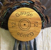 12 Gauge Turkey Fan Beard Plaque  - Medium Oak