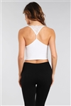 M Rena V-Neck Cropped Top with Lace Back Detail