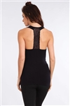 M Rena Scoop Neck Tank Top with Lace Back Panel