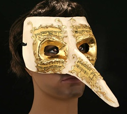 Long Nose Casanova Mask Cream and Gold - Adult