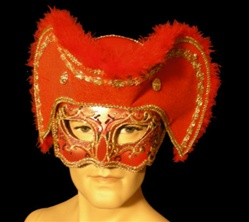 Red Mardi Gras Sea Captain Mask - Adult