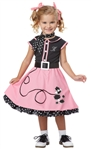 50's Poodle Skirt Costume for Toddler Girls - 50s