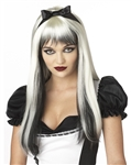 Enchanted Tresses - Long Black and White Wig