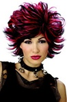 Sexy Womens Adult Short Shag Black/Red Wig