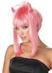 Womens Short Pink Devil Girl Wig