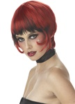 Short Red and Black Adult Wig