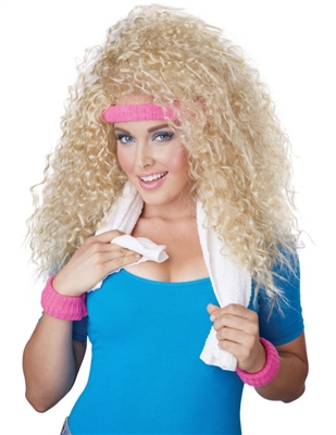 Let's Get Physical Blonde Wig - 80's Curly Wig
