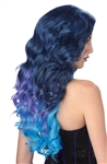 Blue and Purple Long Wavy Cascade Wig