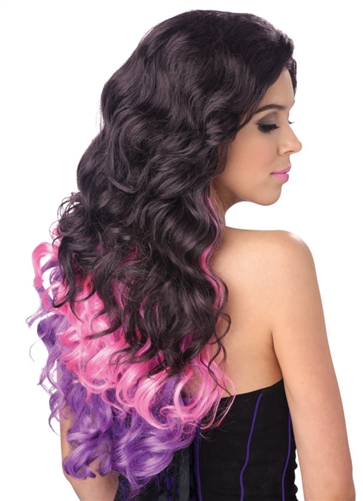 Purple and Pink Long Wavy Cascade Wig