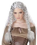 Viking Princess Grey Wavy Wig with Braids