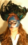 Blue Diamond Feather Mask - Accessory