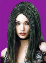 Green and Black Witch Wig