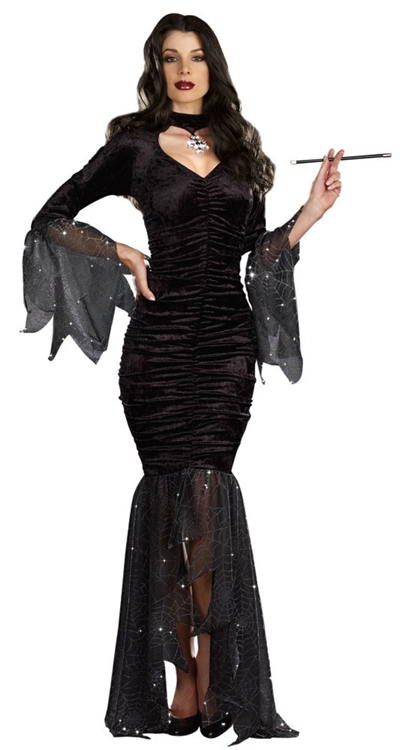 sexy mysterious mistress costume morticia halloween. Black Bedroom Furniture Sets. Home Design Ideas